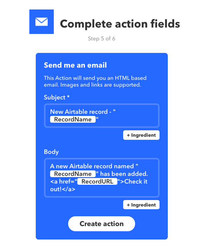 Using IFTTT to integrate Airtable with other apps and