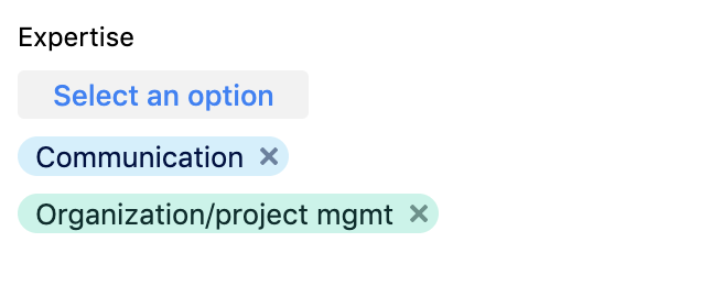 Multiple select fields in the browser extension can be selected using a dropdown while previously selected options will have an X next to them to remove them.