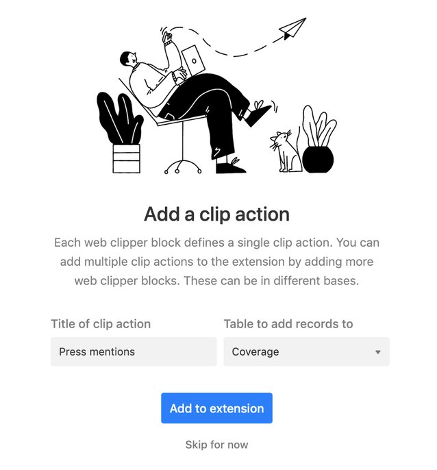 A newly added web clipper app will allow you to immediately add the clip action to the browser extenstion.